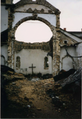 Back of the Cathedral of Sts. Peter & Paul in Mostar during the war
