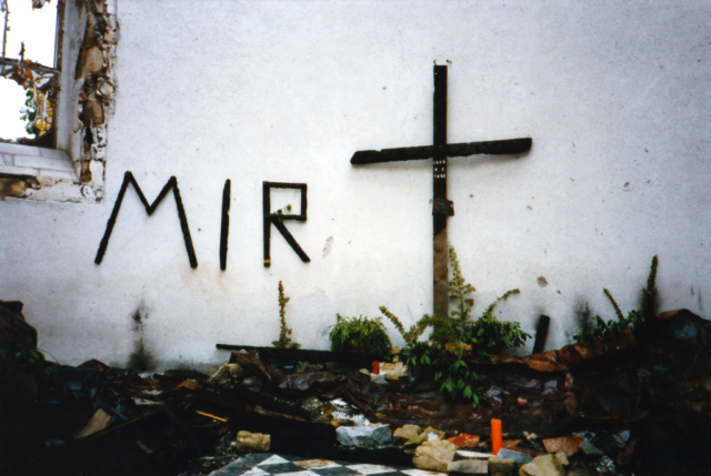 Mir..written on the wall of the Cathedral of Sts. Peter & Paul in Mostar